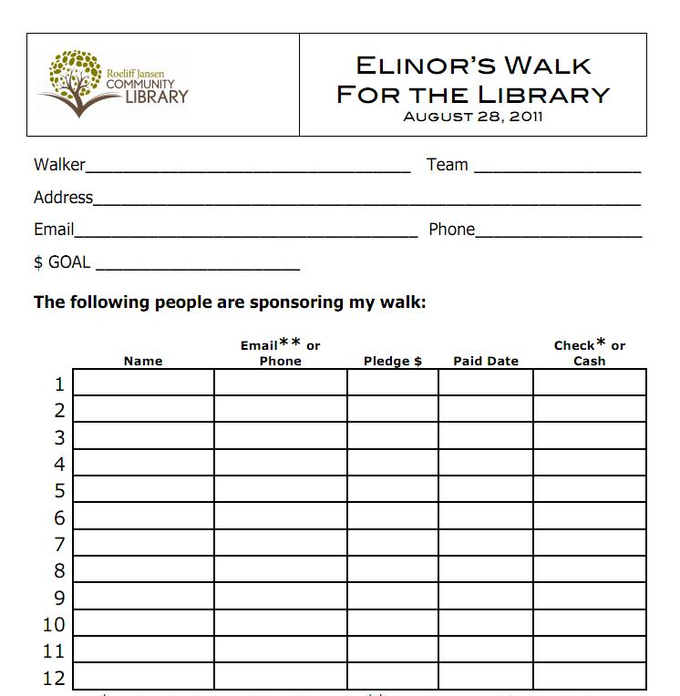 walk thon pledge sheet